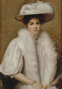 portrait of doris campbell, half-length, in a white dress and hat with feathers by ernest townsend