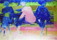 conversation sur le banc by bernard piga