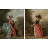 a lady seated in a garden (+ a lady wearing a hat, promenading in a landscape; pair) by jean-baptiste hilaire