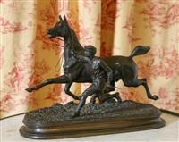 jeune lad et son cheval by edouard guy comte du passage