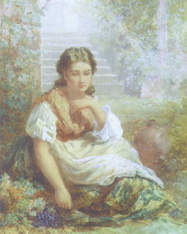 a girl with a pitcher sitting in a garden by henry whatley