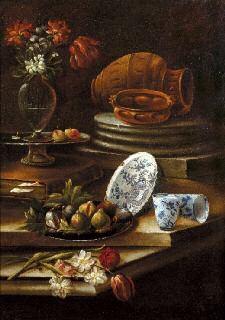 natura morta con frutti, vaso fiorito e stoviglie and natura morta con frutti e ceramiche (2 works) by cristoforo munari