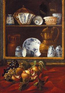 natura morta con frutti vaso fiorito e stoviglie and natura morta con frutti e ceramiche 2 works by cristoforo munari