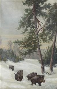 la compagnie de sangliers dans la neige by pierre legros