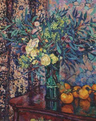 roses jaunes kakis et mimosas by théo van rysselberghe