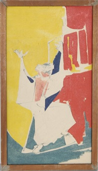 figure with hands raised 17 by john f. leonard