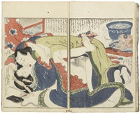 three volumes titled shinobuzuri, traditionally bound, the preface by inrakuo, illustrated under the pen name of ganko, the majority of illustrations depicting couples making love by katsushika hokusai