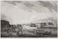 utsigt af stockholm tagen från blasiiholmen and kongl. lust-slottet drottningholm (2 works) by johan fredrik martin