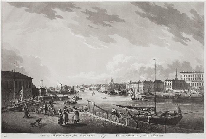 utsigt af stockholm tagen från blasiiholmen and kongl lust slottet drottningholm 2 works by johan fredrik martin