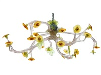 large chandelier (stag and sunflowers) by virgil marti