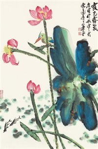 霞光露气 镜心 设色纸本 by xiao ping