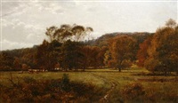 cattle grazing in an autumn landscape by j. deane simmons
