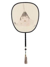 思 宫扇 设色绢本 (painted in 2014 circular fan) by liu qinghe