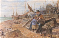 a fisherman and a girl on the beach at eastbourne by samuel john hodson