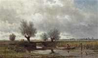 na de regen: a fisherman in a polder landscape by willem roelofs