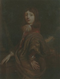 portrait of a young boy wearing a red jacket and an ochre mantle by jürgen ovens