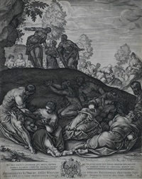 die wundersame vermehrung der brote und fische (after tintoretto) by lukas kilian