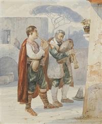 zwei pifferari vor einem andachtsbild spielend by carl (karl) wilhelm götzloff