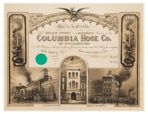 this is to certify that hiram sweet is an honorary member of the columbia hose co of philadelphia by james queen