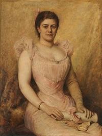 portrait d'une dame en robe de soirée tenant un diplôme entre les mains by léon herbo