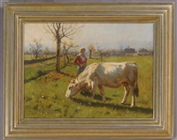 a lass and her cow by hermann hartwich