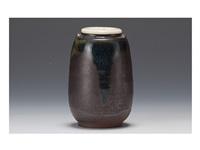 takatori loabed tea container by miraku kamei xiv