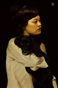 a woman holding a dog by park min-joon