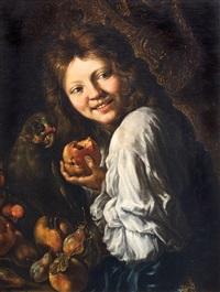 ragazzo che ride con frutta e pappagallo by guillaume courtois