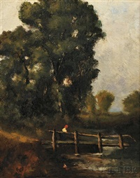 figure crossing a footbridge by david cox the elder
