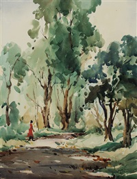 a woman strolling in the woods by lim cheng hoe