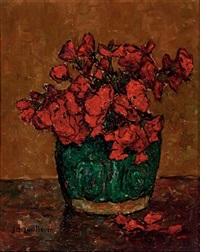 a still life with red flowers in a green vase by jan adam zandleven