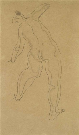stretching nude by sanyu