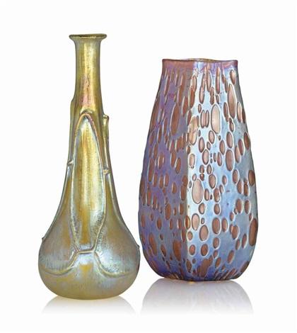 Two Loetz Iridescent Glass Vases By Johann Ltz Witwe On Artnet