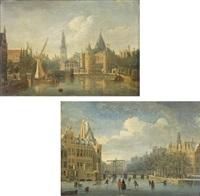 le gelderse kade et le waag à amsterdam (+ le kloveniersdoelen à amsterdam; 2 works) by jan ten compe