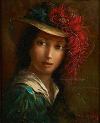 portrait à la plume rouge by louis gustave cambier