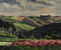paysage aux champs roses by georgette agutte