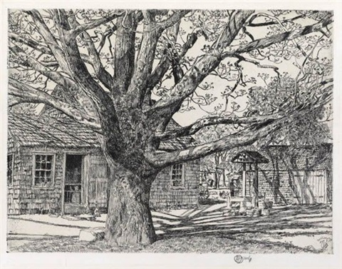 oak and old house in spring by childe hassam