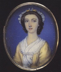 a young lady wearing pale yellow dress, white scarf with ribbon at her corsage and white lace cap with yellow ribbon in her curled hair by peter paul lens
