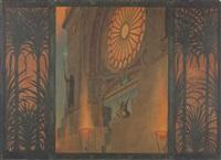der tempel ohne thor / dir o weinende seele öffne sich dieses gitter von eisernen palmen by hugo hoppener fidus