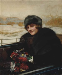 portrait of a lady, half-length, in an open topped car, a bunch of flowers in her hand by harold h. piffard