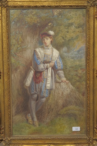 boy dressed in 17th century costume leaning beside a tree by william sharpe