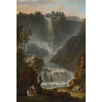 view of the cascade del marmore near terni by claude louis châtelet