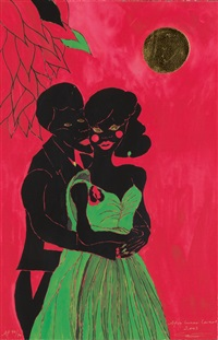 afro lunar lovers * afro lunar lovers ii (2 works) by chris ofili