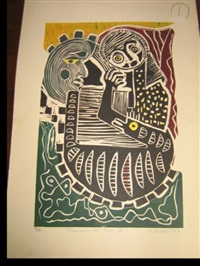 mujer chaman (+ 2 others; 3 works, various dates & sizes) by karima muyaes