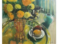 still life with yellow carnations, vessels and fruit by louis van heerden