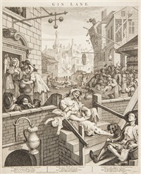 beer street and gin lane (3 works) by william hogarth