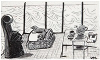 breakfast with stanley and boodgie in malibu by david hockney