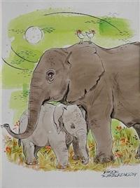 elephants xxii by viktor schreckengost