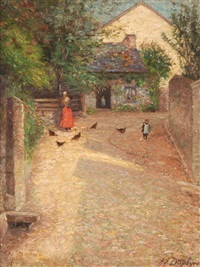 farmyard in normandy by alfred james daplyn