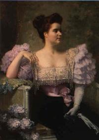 jeune femme en tenue de soirée assise près d'un bouquet d'hortensias by jules louis machard